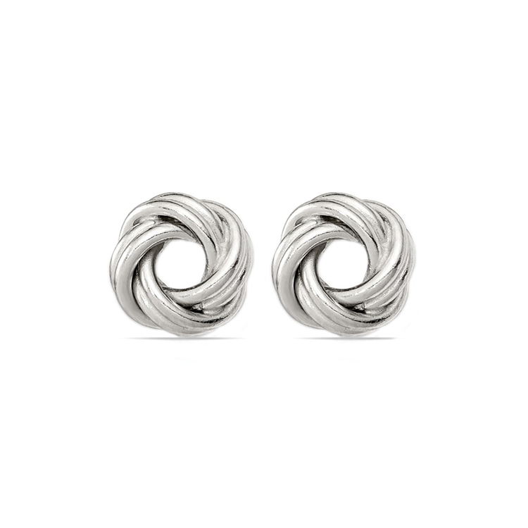 Polished Love Knot Earrings in Silver | 01