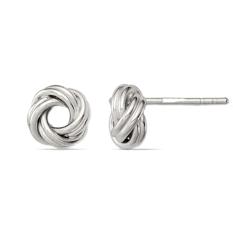 Polished Love Knot Earrings in Silver | 02