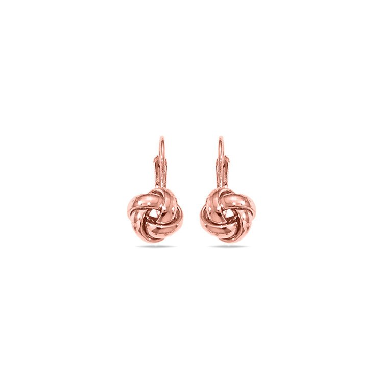 Polished Love Knot Leverback Earrings in Rose Gold | 01
