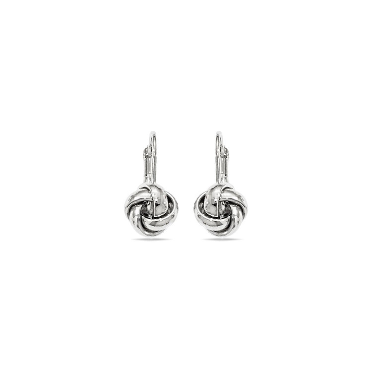 Polished Love Knot Leverback Earrings in White Gold | 01