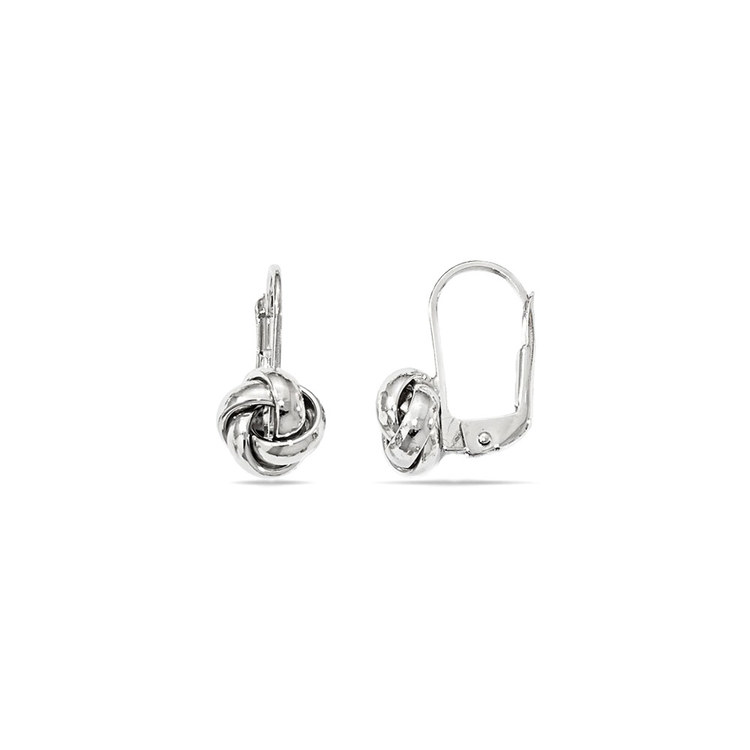 Polished Love Knot Leverback Earrings in White Gold | 02