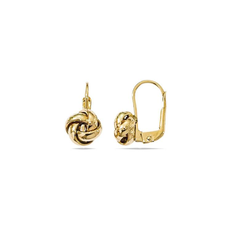 Polished Love Knot Leverback Earrings in Yellow Gold | 02