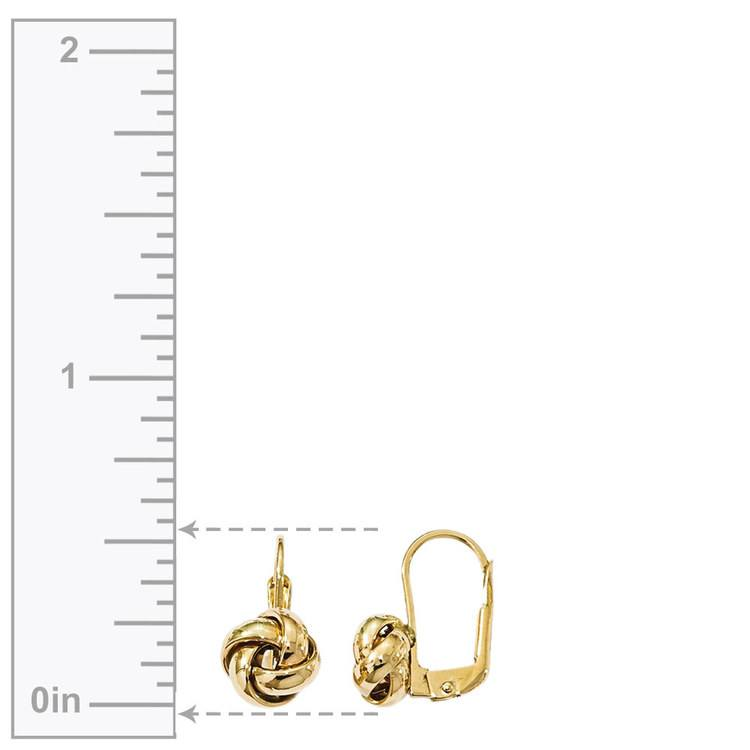 Polished Love Knot Leverback Earrings in Yellow Gold | 03