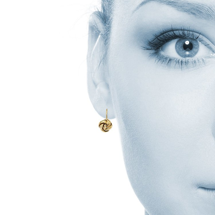 Polished Love Knot Leverback Earrings in Yellow Gold | 04