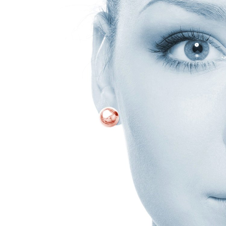 Polished Button Stud Earrings with Rose Finish in Silver (8.75 mm) | 04