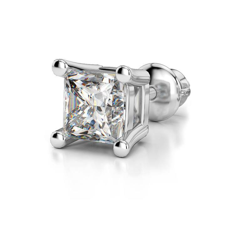 Princess Diamond Single Stud Earring In White Gold (1 1/2 Ctw) | 04
