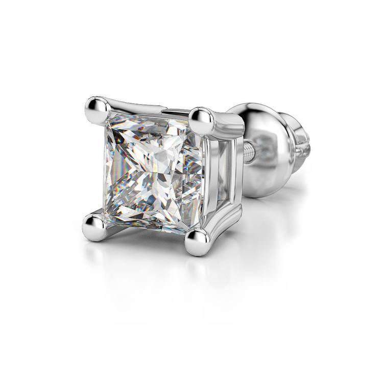 Princess Diamond Single Stud Earring In White Gold (3/4 Ctw) | 04