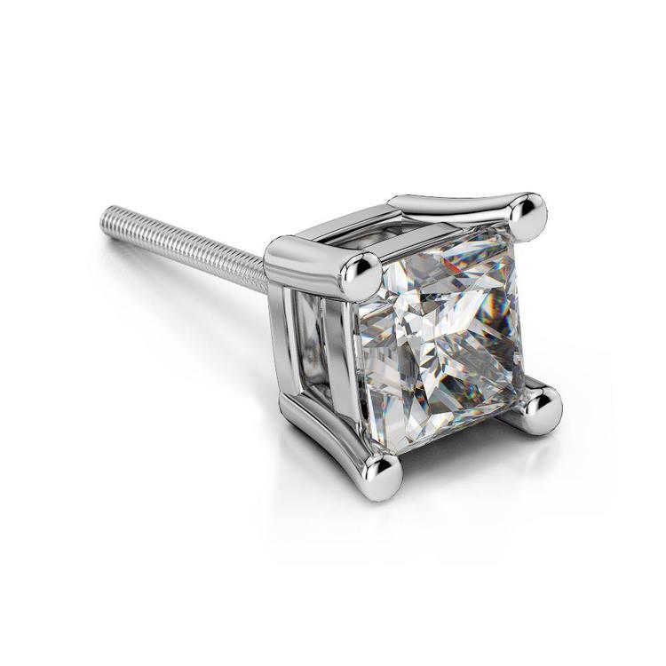 Princess Diamond Single Stud Earring In White Gold (3/4 Ctw) | 01