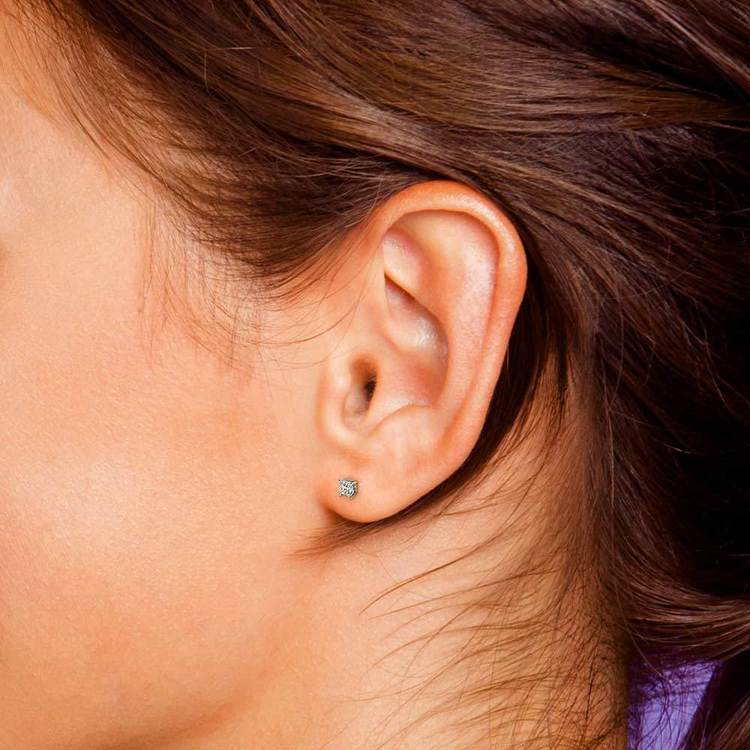 Princess Diamond Single Stud Earring In White Gold (3/8 Ctw) | 05