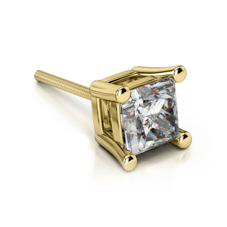 Princess Diamond Single Stud Earring In Yellow Gold (1/2 Ctw)   01