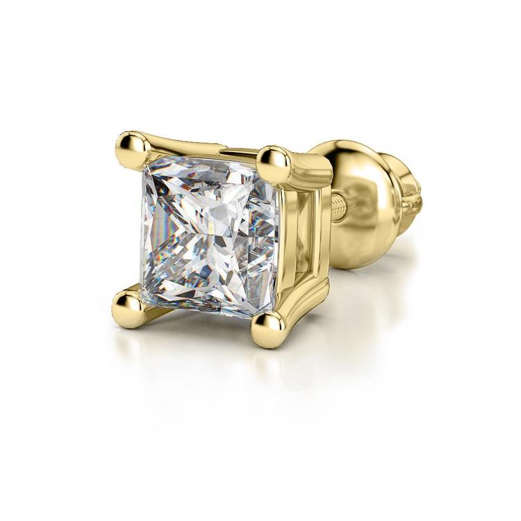 Princess Diamond Single Stud Earring In Yellow Gold (1 Ctw) | 04