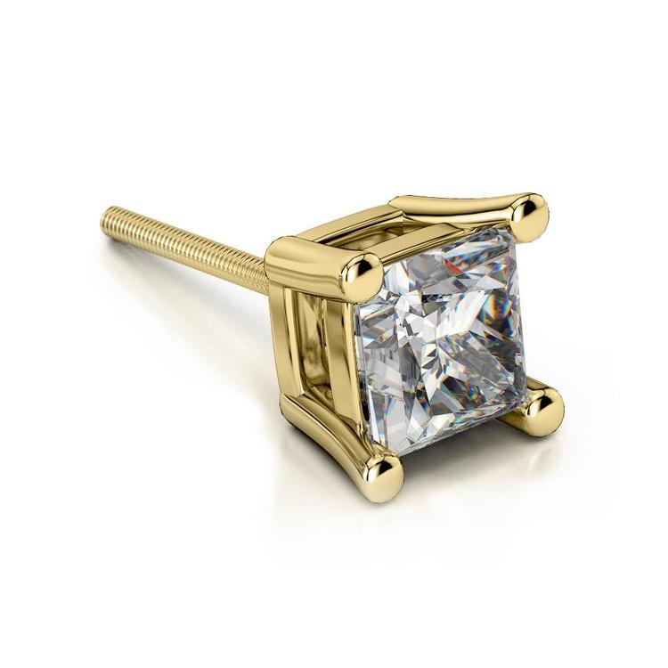 Princess Diamond Single Stud Earring In Yellow Gold (2 Ctw) | 01