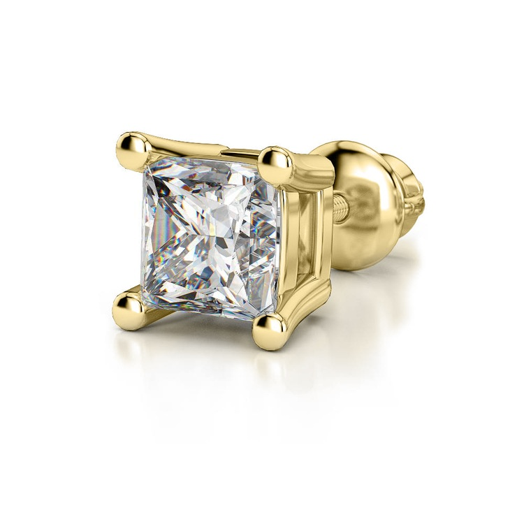Princess Diamond Single Stud Earring In Yellow Gold (2 Ctw) | 04