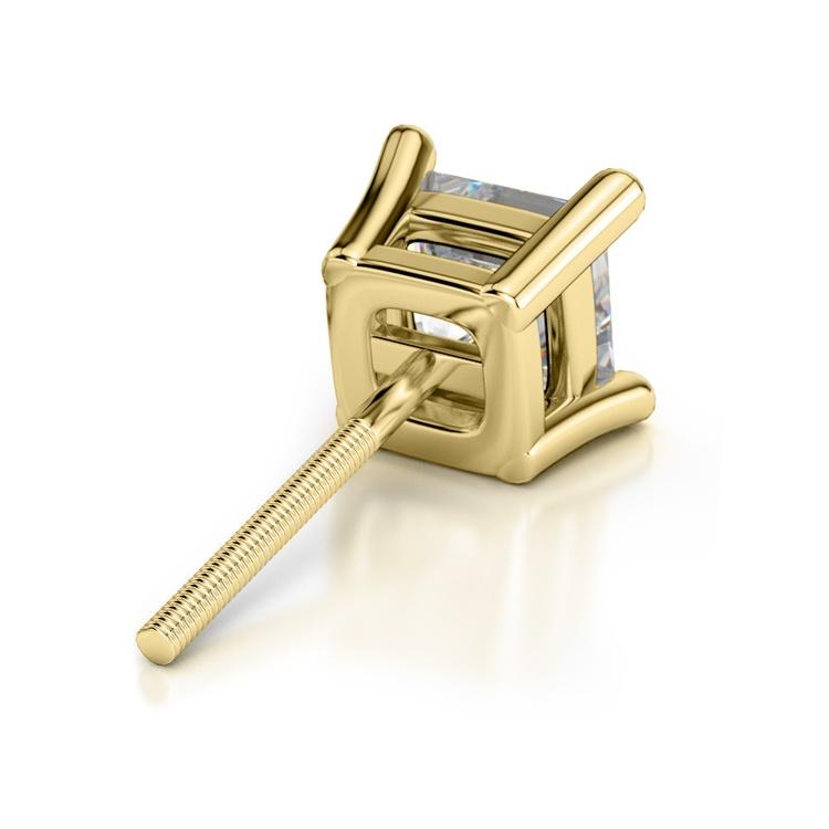 Princess Diamond Single Stud Earring In Yellow Gold (3/4 Ctw)   02