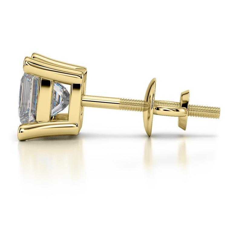 Princess Diamond Single Stud Earring In Yellow Gold (3/4 Ctw)   03