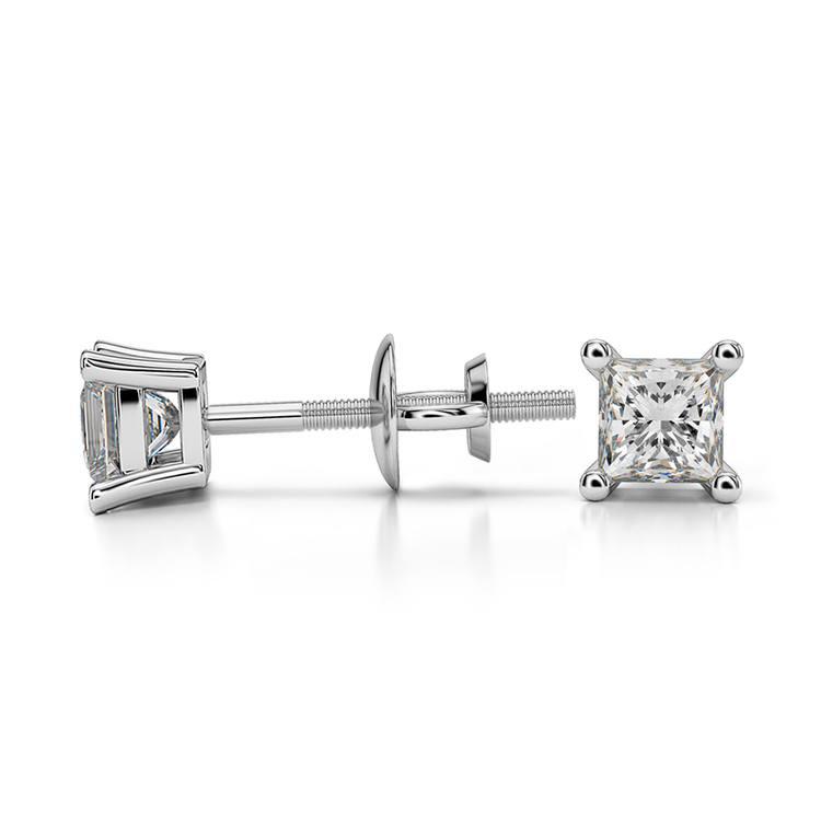 Princess Diamond Stud Earrings in Platinum (1/3 ctw) | 03