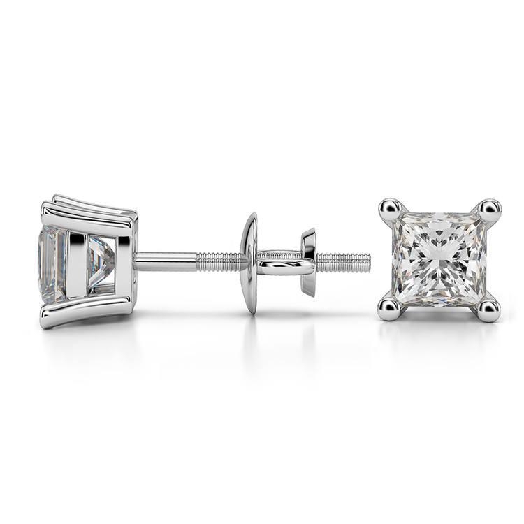 Princess Diamond Stud Earrings in Platinum (1 ctw) | 03