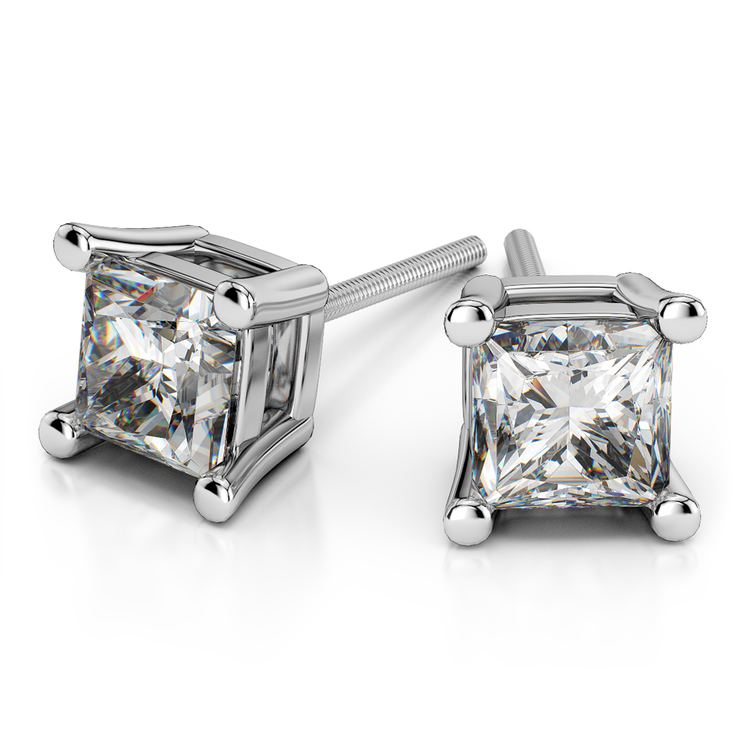 Princess Diamond Stud Earrings in White Gold (1 1/2 ctw) - Value Collection | 01