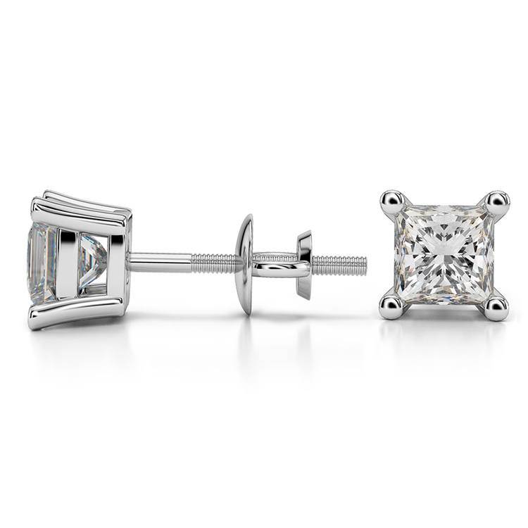 Princess Diamond Stud Earrings in White Gold (1 1/2 ctw) - Value Collection | 03