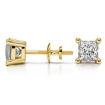Princess Diamond Stud Earrings in Yellow Gold (1 1/2 ctw) - Value Collection | Thumbnail 01