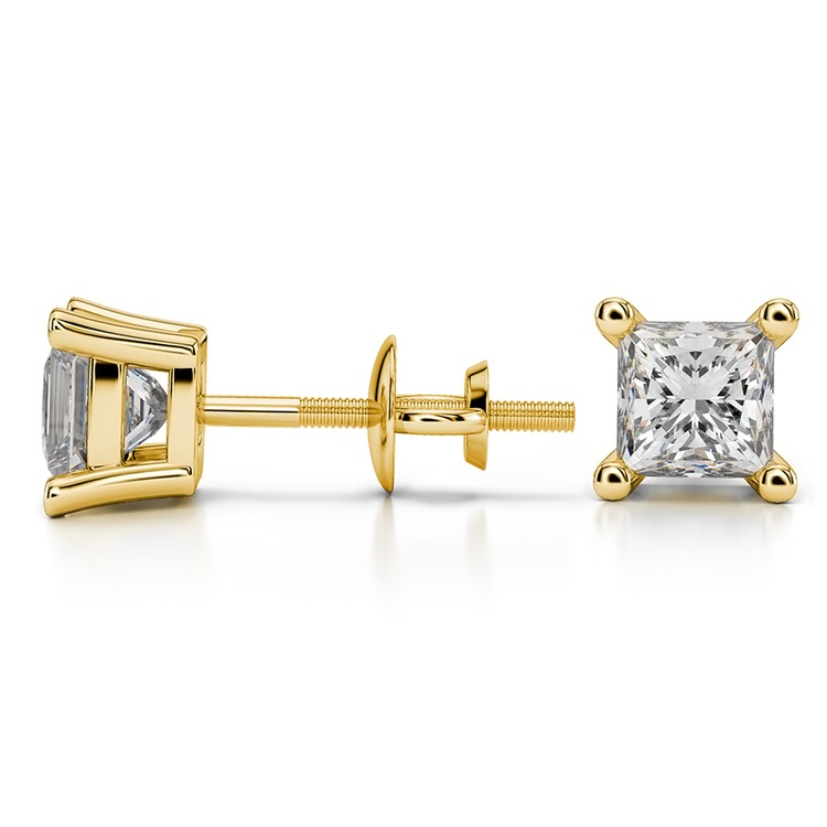 Princess Diamond Stud Earrings in Yellow Gold (1 1/2 ctw) - Value Collection | 03