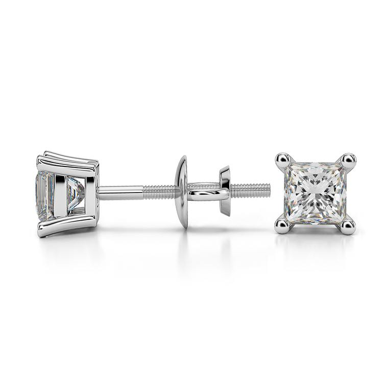 Princess Diamond Stud Earrings in White Gold (1/2 ctw) - Value Collection | 03