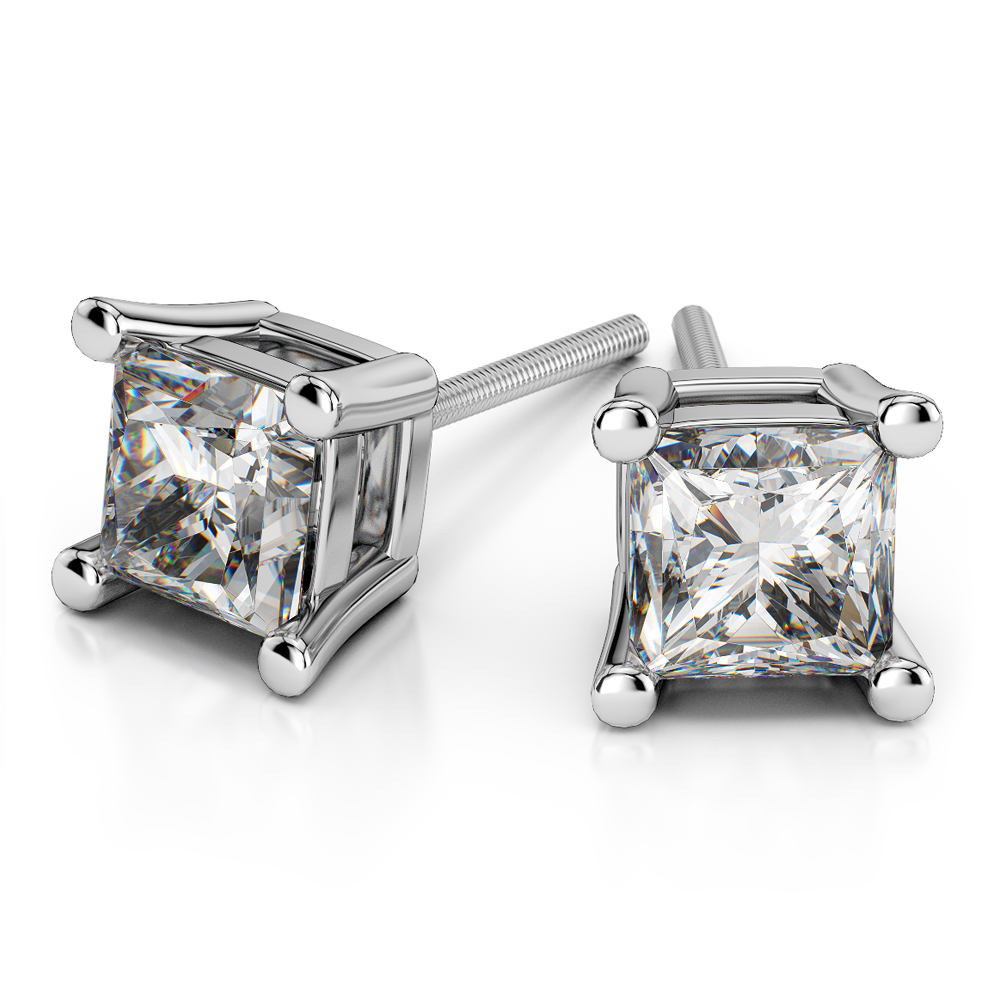 Princess Diamond Stud Earrings In White Gold 1 2 Ctw Value Collection