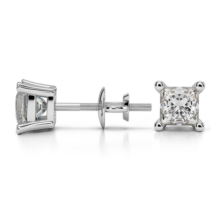 Princess Diamond Stud Earrings in Platinum (1 ctw) - Value Collection | 03