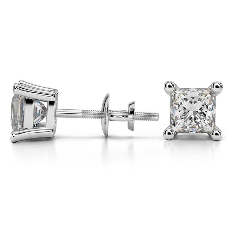 Princess Diamond Stud Earrings in Platinum (2 ctw) - Value Collection | 03