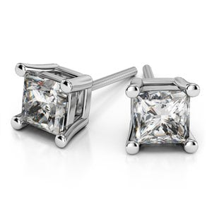 Princess Diamond Stud Earrings in White Gold (2 ctw) - Value Collection