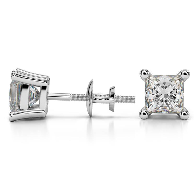 Princess Diamond Stud Earrings in White Gold (2 ctw) - Value Collection | 03