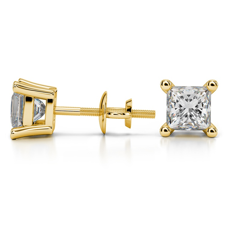 Princess Diamond Stud Earrings in Yellow Gold (2 ctw) - Value Collection | 03