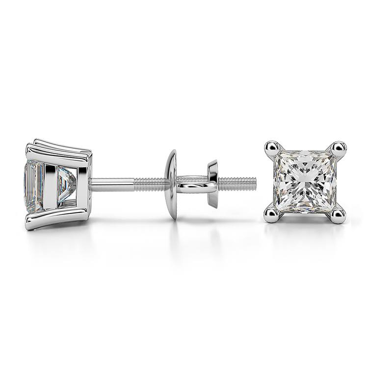 Princess Diamond Stud Earrings in White Gold (3/4 ctw) - Value Collection | 03