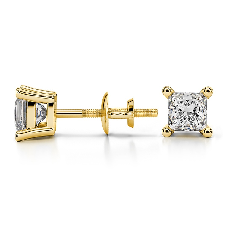 Princess Diamond Stud Earrings in Yellow Gold (3/4 ctw) - Value Collection | 03