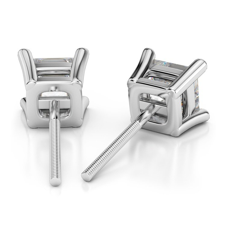 Princess Diamond Stud Earrings in White Gold (3 ctw) - Value Collection | 02