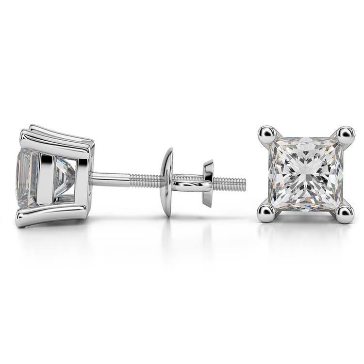 Princess Diamond Stud Earrings in White Gold (3 ctw) - Value Collection | 03