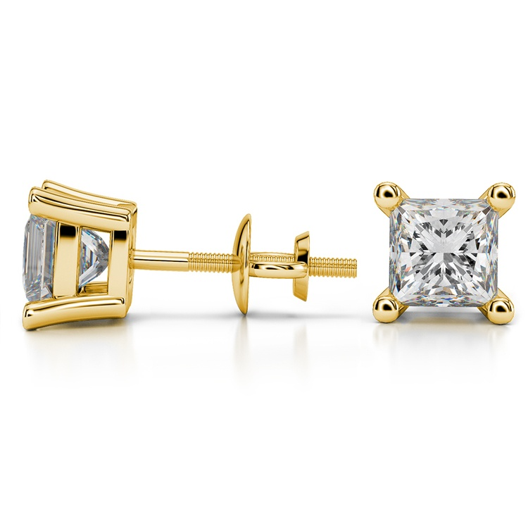 Princess Diamond Stud Earrings in Yellow Gold (3 ctw) - Value Collection | 03