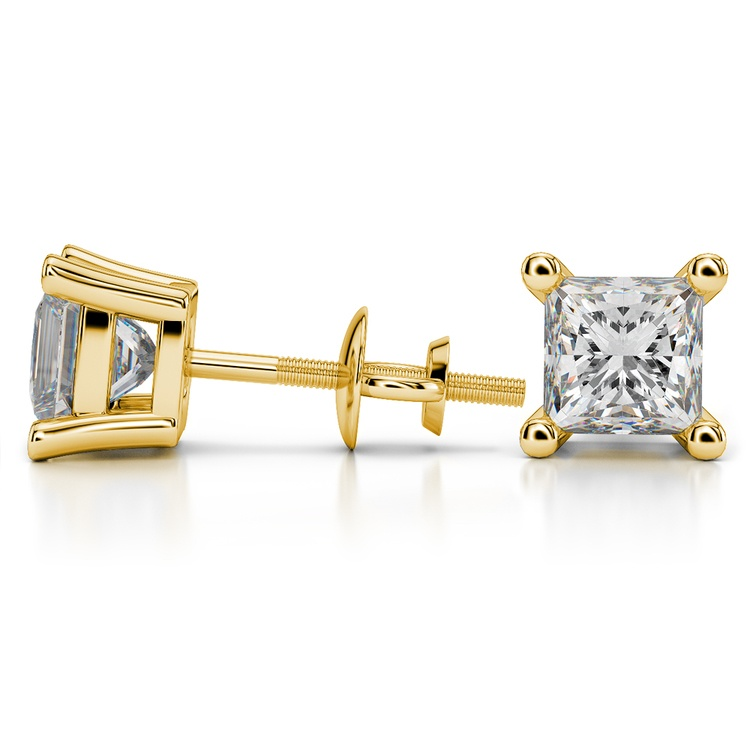 Princess Diamond Stud Earrings in Yellow Gold (4 ctw) - Value Collection | 03