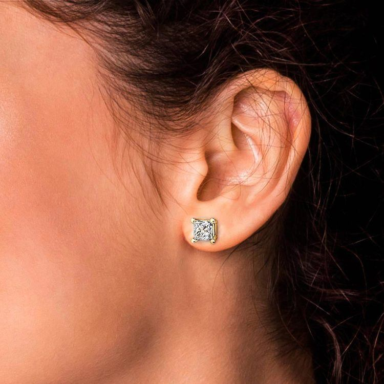 Princess Diamond Stud Earrings in Yellow Gold (4 ctw) - Value Collection   04