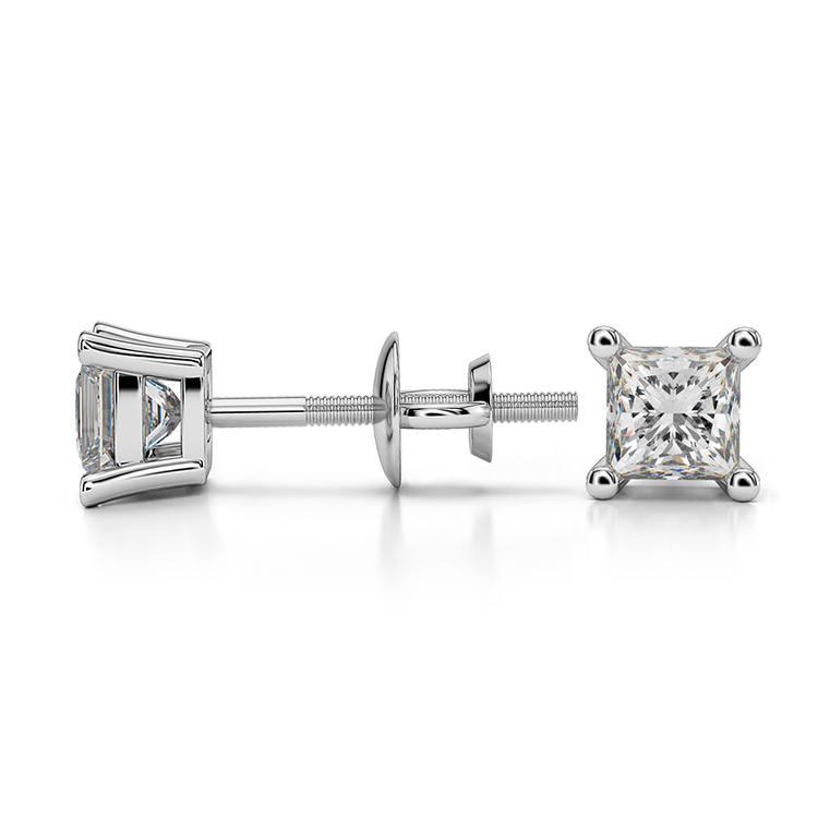 Princess Diamond Stud Earrings in White Gold (1/2 ctw) | 03