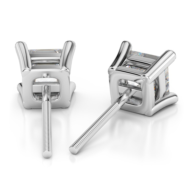 Princess Diamond Stud Earrings in White Gold (3/4 ctw) | 02