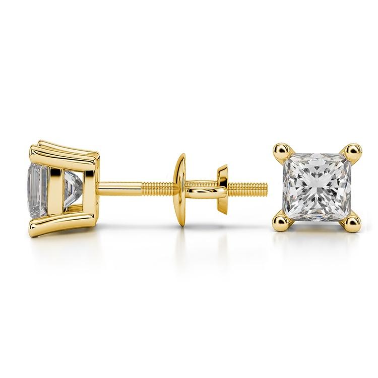 Princess Diamond Stud Earrings in Yellow Gold (1 ctw) | 03