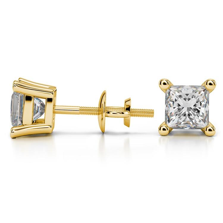 Princess Diamond Stud Earrings in Yellow Gold (2 ctw) | 03