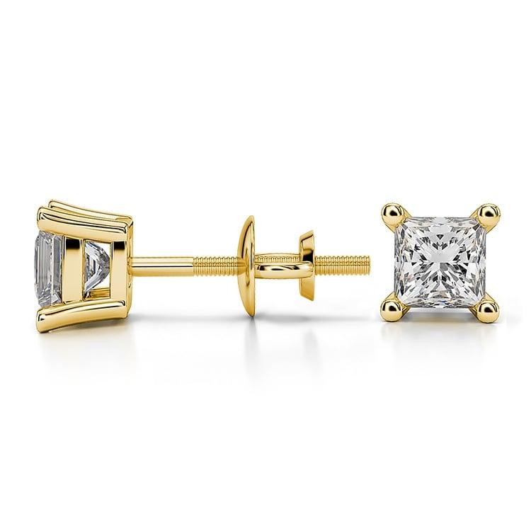 Princess Diamond Stud Earrings in Yellow Gold (3/4 ctw) | 03