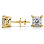 Princess Diamond Stud Earrings in Yellow Gold (3 ctw) | Thumbnail 01