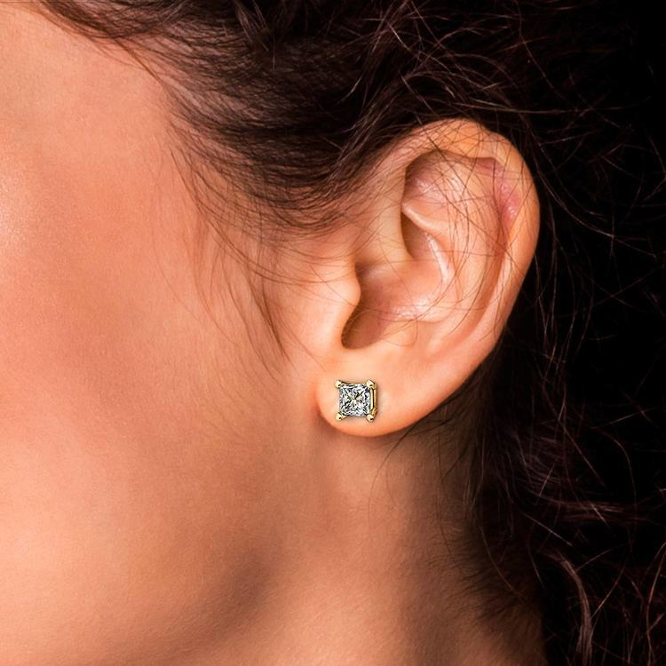 Princess Diamond Stud Earrings in Yellow Gold (3 ctw) | 04