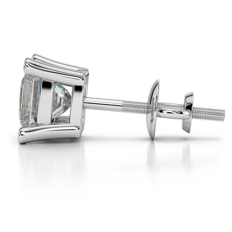 Princess Moissanite Single Stud Earring In White Gold (4.5 Mm) | 03