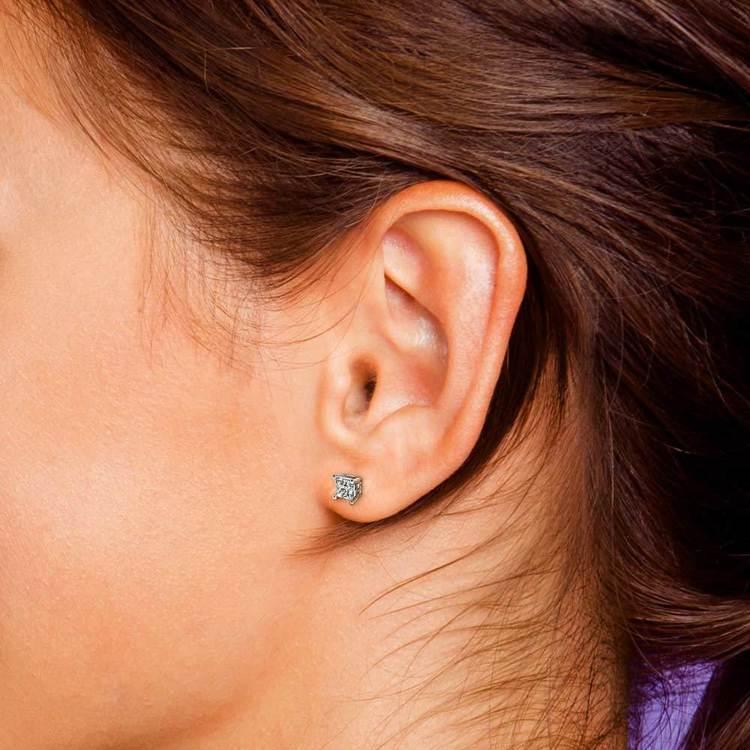 Princess Moissanite Single Stud Earring In White Gold (6.5 mm) | 05