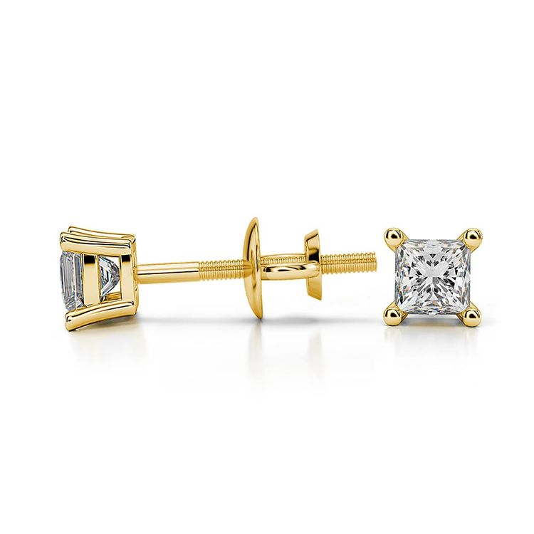 Princess Moissanite Stud Earrings in Yellow Gold (2.5 mm) | 03