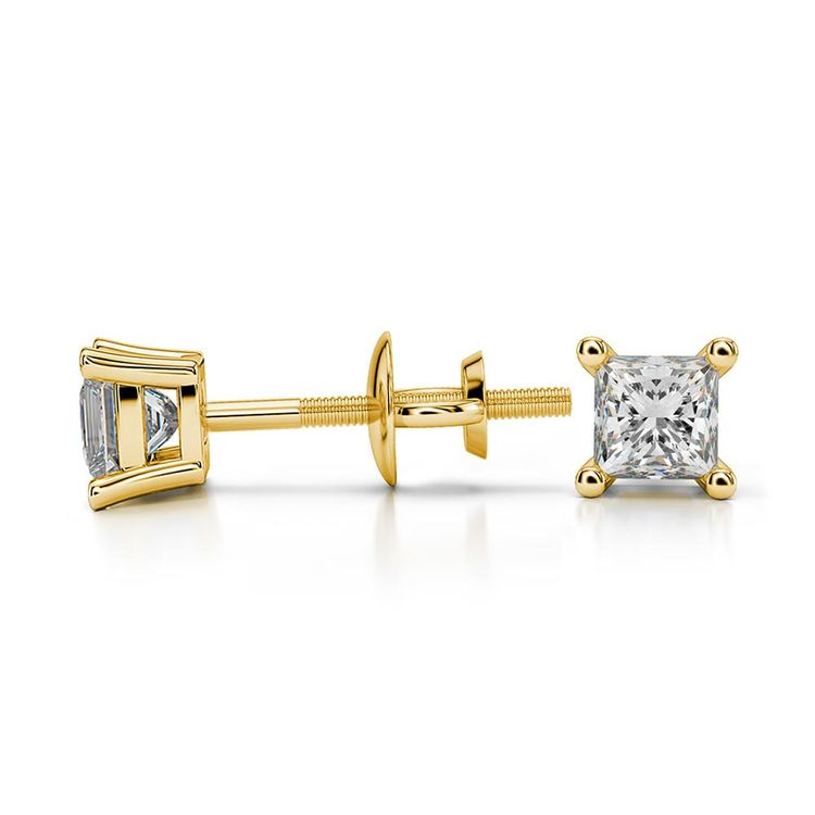 Princess Moissanite Stud Earrings in Yellow Gold (3 mm) | 03